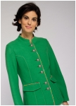Green long jacket made of superlight boiled wool from Geiger