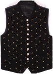 Stand up collar for this black embroidered velvet vest.