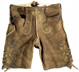 Short traditional leather trousers from Bavaria.