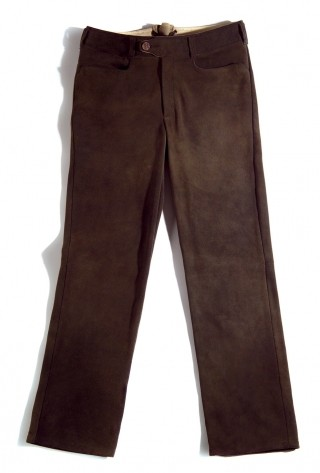 Long chamoise red deer leather trousers, the finest one.