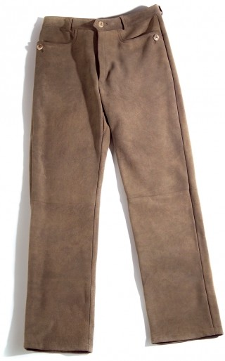 Classicle red deer leather trousers.