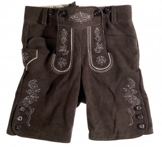 Short leather trousers for children.
