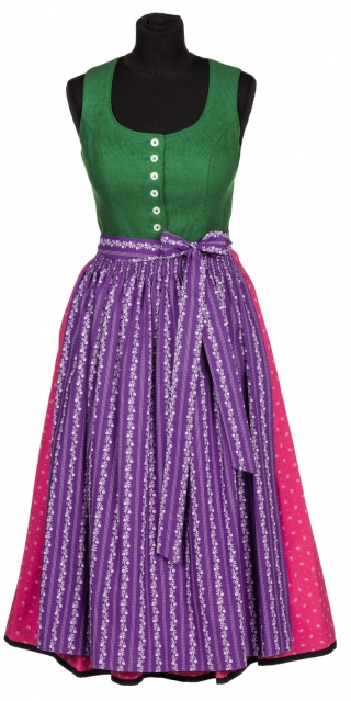 Traditional green purple dirndldress