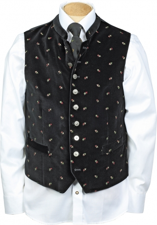 Stand up collar for this embroidered velvet vest.