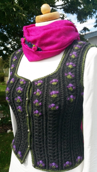Traditional lady jacket handknitted merinowool