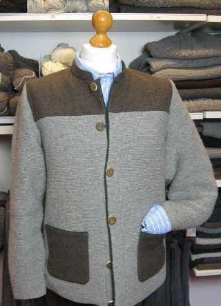 Mans sheep-wool jacket Toni with  loden trimming.