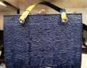 Originell blue/yellow leather bag from Sima.