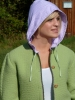 Green sheep-wool cardigan Viola with hood for woman.